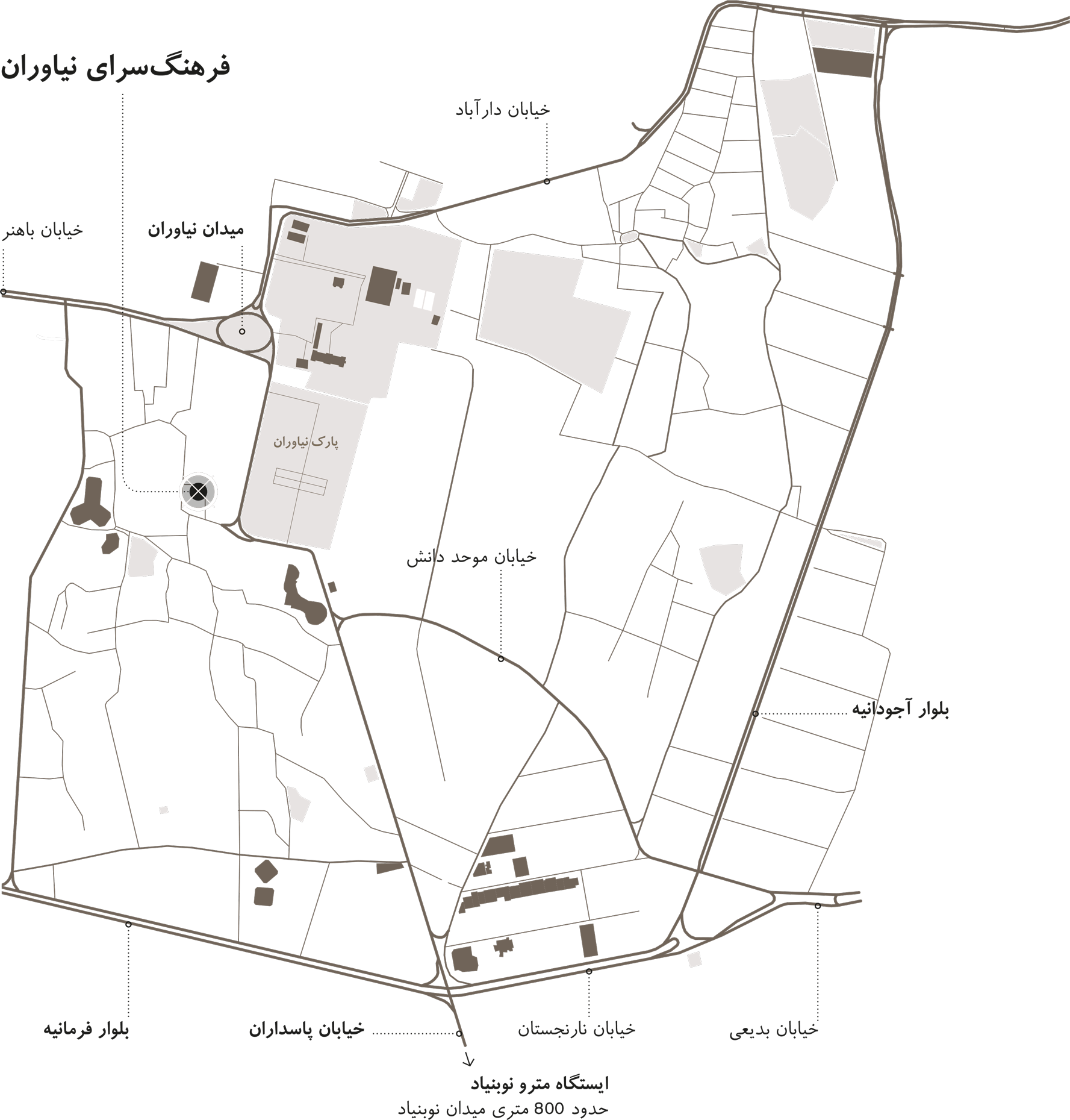 Illustrated Map of the location of the Designing in Dialogue exhibition by gmp in Tehran
